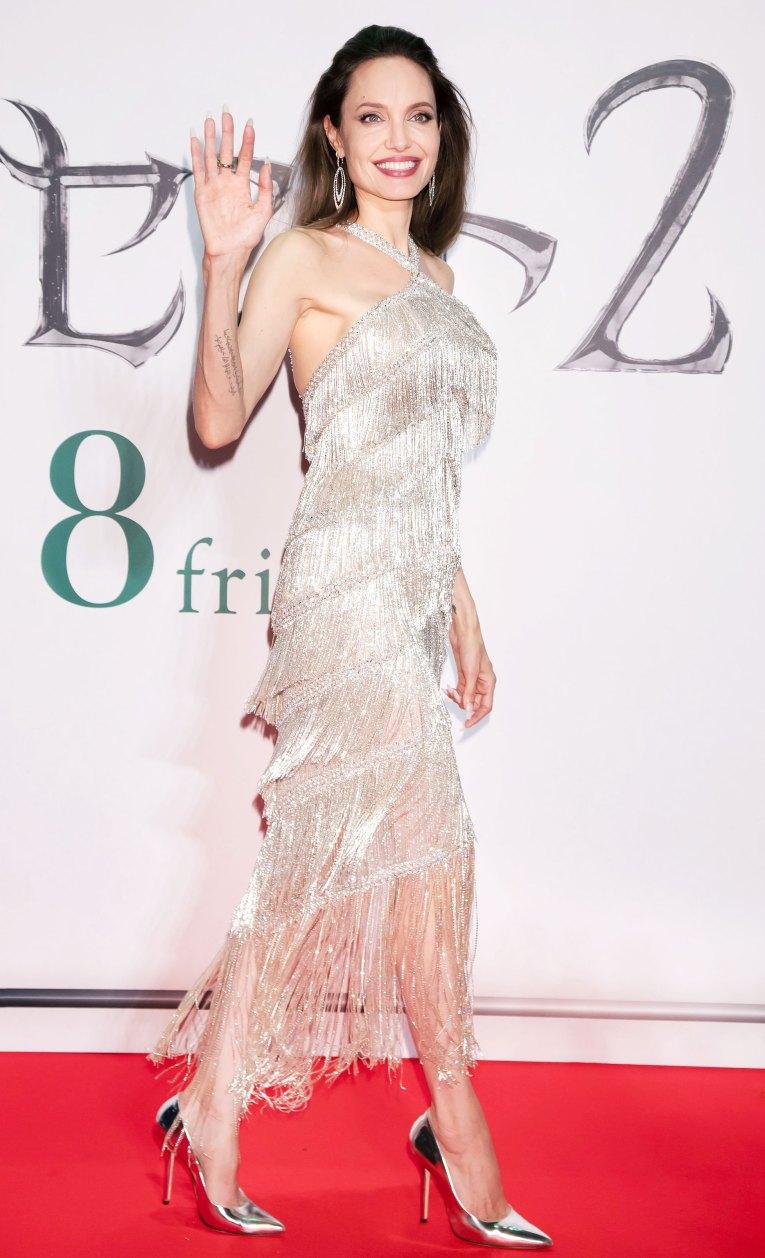 Angelina Jolie Silver Fringe Dress October 3, 2019