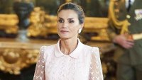 Queen Letizia Wearing a Blush Pink Dress During a Reception at the Royal Palace