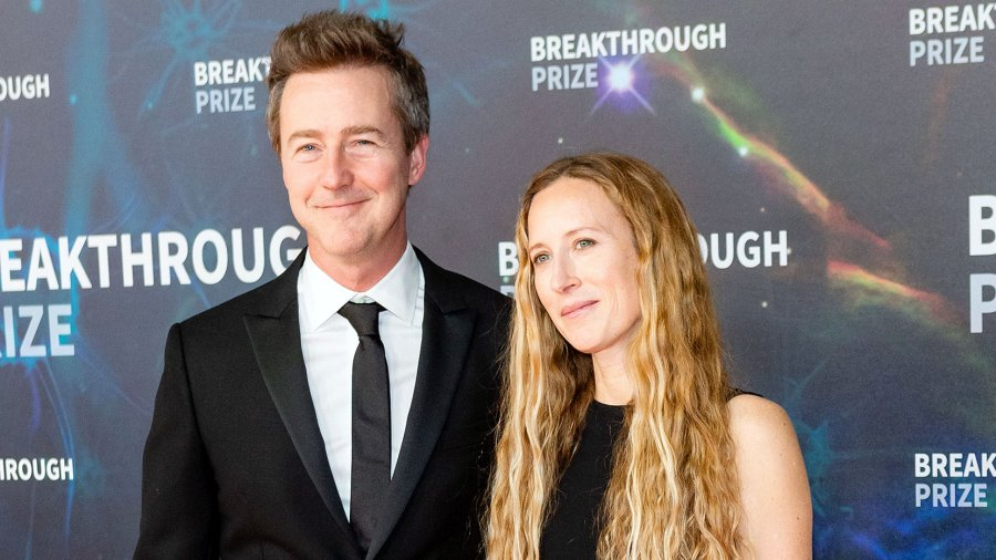 Edward Norton and Shauna Robertson at Breakthrough Prize Ceremony Talks Oscar Nominations and Life Lessons for Son