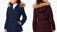 Tommy Hilfiger Hooded Faux-Fur-Trim Puffer Coat, Created For Macy's (Navy/Aubergine)