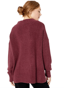 Cable Stitch Women's Mock Neck Cozy Sweater (Wine)