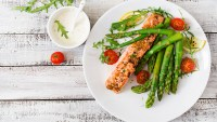 Plated salmon with asparagus