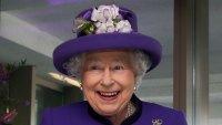 Queen Elizabeth II Cutting Cake Purple Jacket Purle Hat