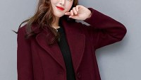 chouyatou Women's Big Notch Lapel Single-Breasted Mid-Long Wool-Blend Coat