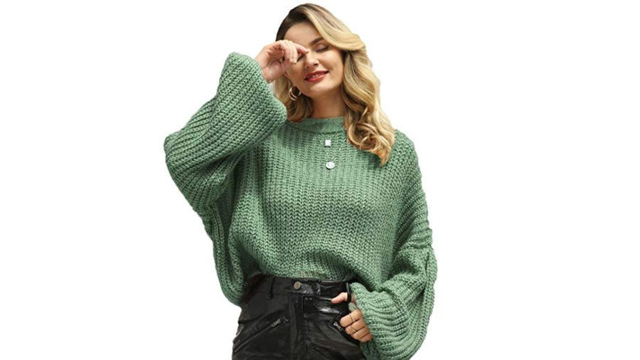 Simplee Women's Casual Long Sleeve Pullover Knit Sweater (Green)