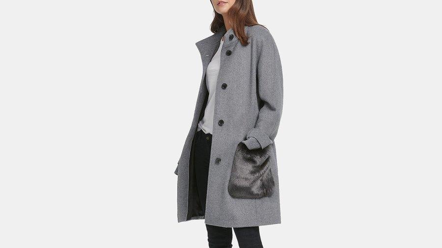 DKNY Faux-Fur-Pocket Walker Coat