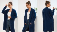 QIXING Casual Open Front Knit Cardigan