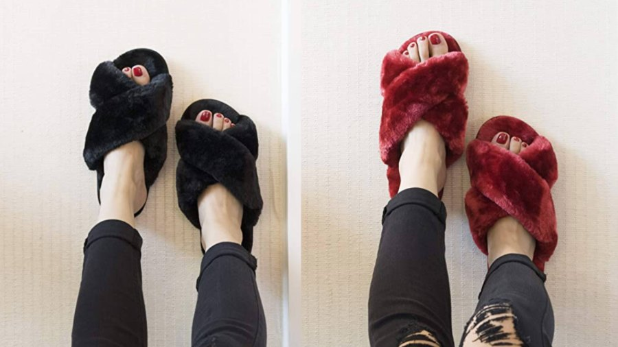 Crazy Lady Women's Fuzzy Open Toe Slippers