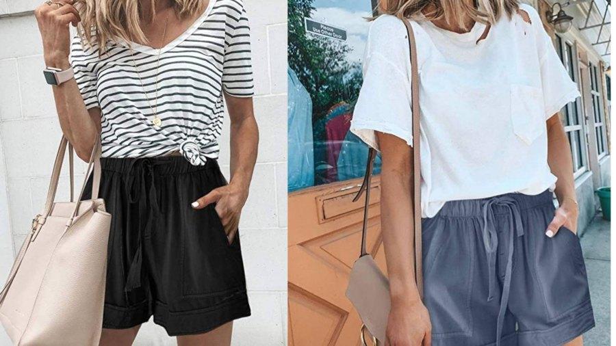 Acelitt Women Comfy Drawstring Casual Elastic Waist Pocketed Shorts