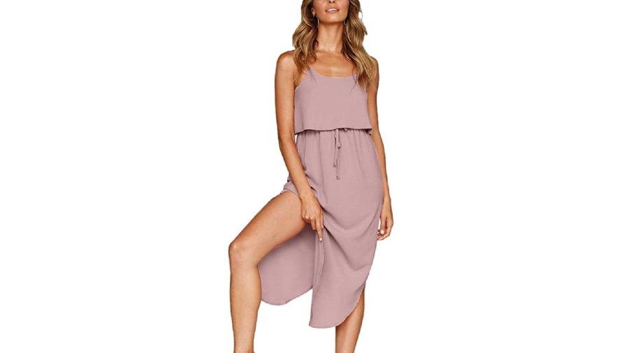 NERLEROLIAN Women's Adjustable Strappy Summer Beach Midi Dress