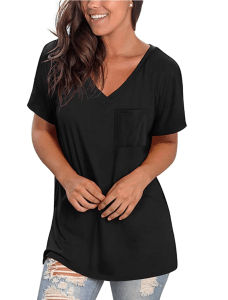 NSQTBA Women's Short Sleeve V Neck T Shirt