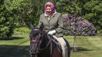 Queen Elizabeth Pairs a Bright Kerchief With a Classic Riding Outfit