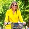 Queen Maxima Is Pure Sunshine in Bright Yellow Biking Outfit