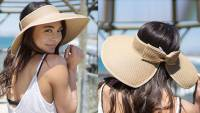 Simplicity Women's Summer Foldable Straw Sun Visor