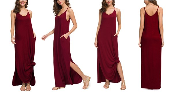 GRECERELLE Summer Casual Loose Maxi Dress With Pockets