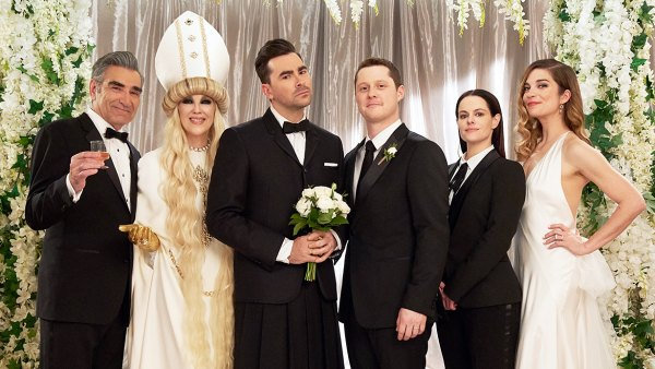 Emmy Nominations 2020 Eugene Levy Catherine OHara Dan Levy Noah Reid Emily Hampshire and Annie Murphy in Schitts Creek