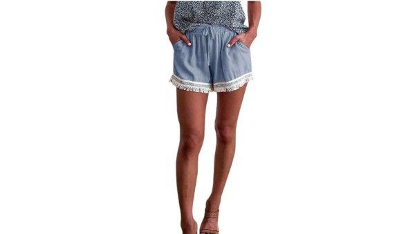 MEROKEETY Women's Boho Elastic Waist Drawstring Shorts