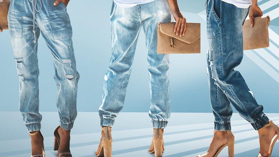 GOSOPIN Drawstring Elastic Waistband Loose Jogger Denim Jeans