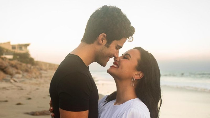 Demi Lovato and Fiance Max Ehrich Celebrate 5-Month Anniversary With a Kiss