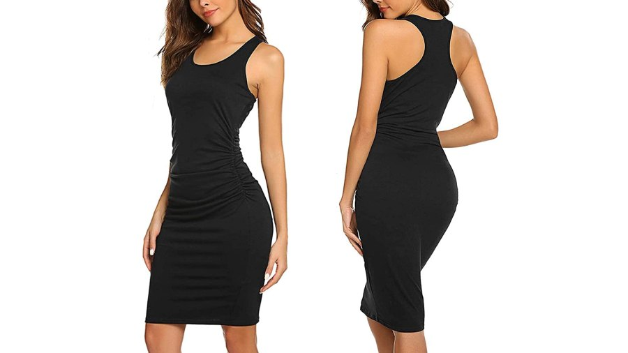 LuckyMore Casual Sleeveless Tank Ruched Bodycon Sundress