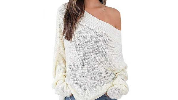 Exlura Women's Off Shoulder Sweater Batwing Oversized Jumper