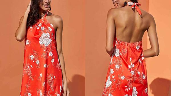 Fronage Women's Casual Sleeveless Floral Mini Dress