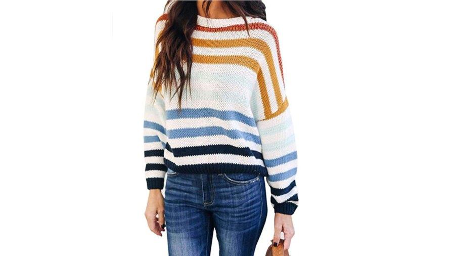 KIRUNDO Women's Stripe Color Block Short Sweater