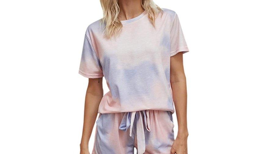 Theenkoln Women's Pajama Tie Dye Short Sleeve Shorts Set