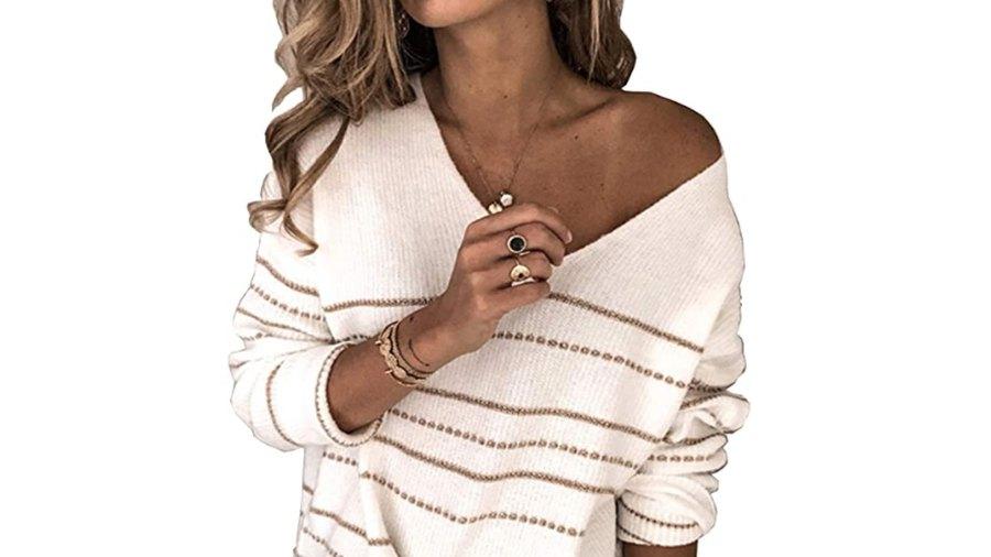 BTFBM Women's Casual Striped Print Slouchy Sweater