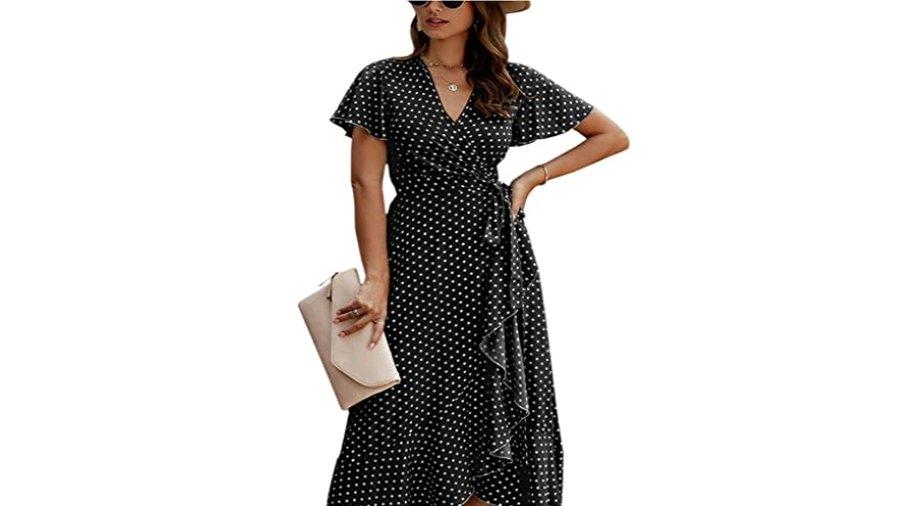 ECOWISH Women's Bohemian Wrap V Neck Short Sleeve High Split Maxi Dress