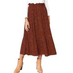 Exlura Women's High Waist Pleated Midi Maxi Swing Skirt with Pockets (Coffee)