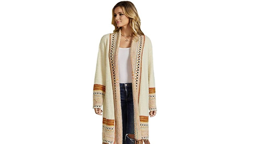 Ferbia Women Boho Maxi Knit Open Front Sweater