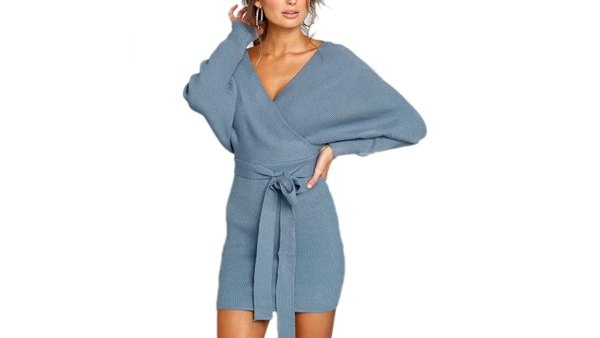 Mansy Women's Sexy Cocktail Batwing Long Sleeve Backless Knit Sweater Mini Dress