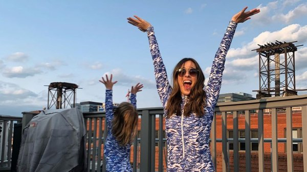Marina Squerciati and Her Daughter Twin in Long-Sleeve Swimsuits