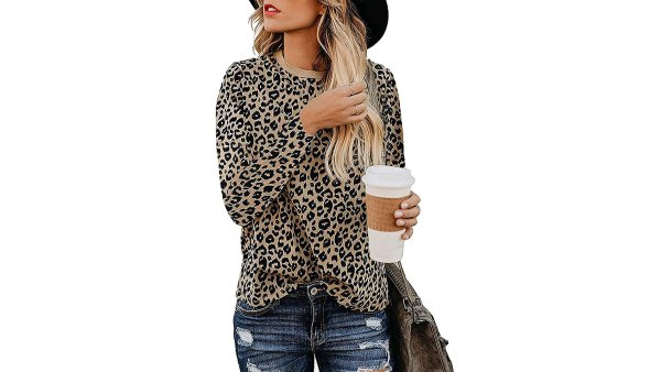 lamibaby Casual Leopard Print Long-Sleeve T-Shirt
