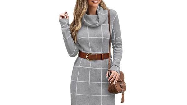 luvamia Women's Casual Turtleneck Knitted Sweater Dress