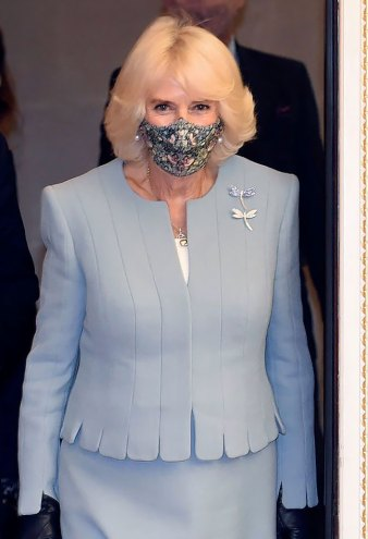 Duchess Camilla Is All Business in Powder Blue Skirt Suit
