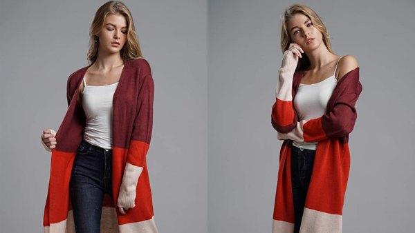KIRUNDO Women's Open Front Long Color Block Fall Sweater