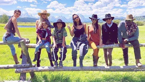 Kardashian Jenner Family Photo Sitting On A Fence