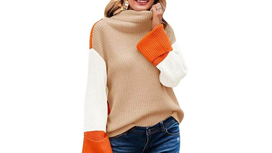 SAUKOLE Women's Turtleneck Color Block Casual Long Chunky Knitted Pullover