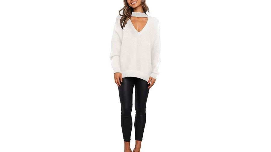 ANRABESS Women's Off Shoulder V Neck High Low Hem Knit Sweater