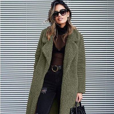 Angashion Women's Fuzzy Fleece Lapel Open Front Long Cardigan Coat
