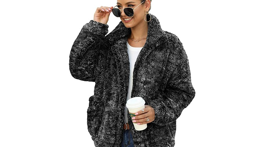 ANRABESS Women's Fashion Hooded Zip Up Faux Shearling Shaggy Oversized Coat