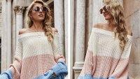 Angashion Suéter de punto de gran tamaño con hombros descubiertos y casual para mujer