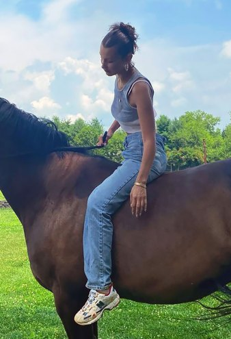 Bella Hadid Wears Mom Jeans and Dad Sneakers on the Farm