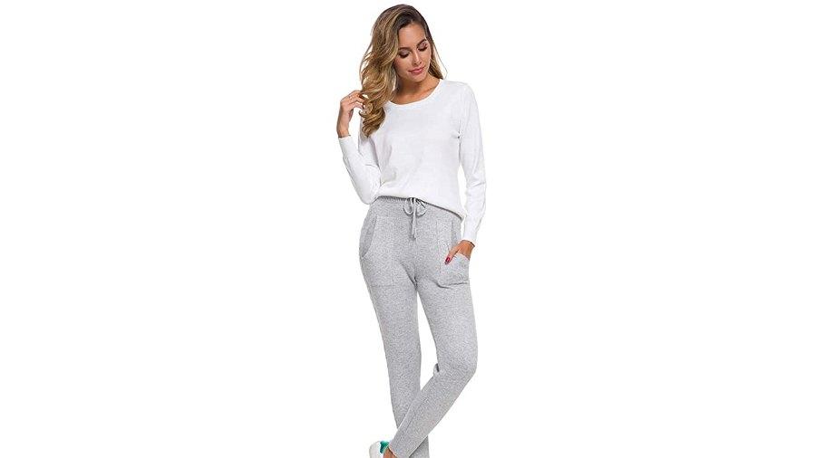 DAIMIDY Women's Cashmere Jogger Pants