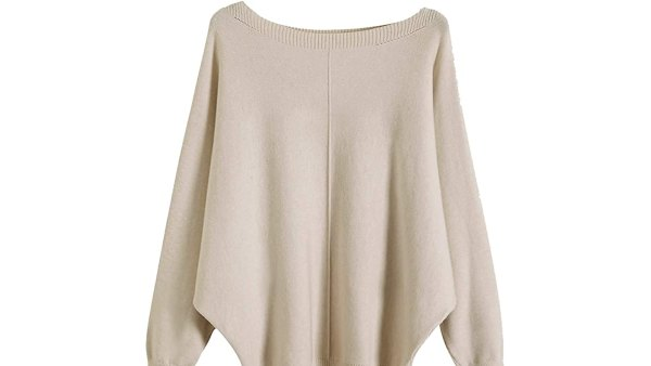 GABERLY Boat Neck Batwing Sleeves Dolman Knitted Sweater