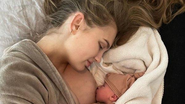 Romee Strijd and Laurens van Leeuwen breastfeeding baby
