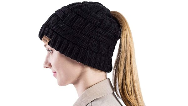 Alepo Women's High Messy Bun Beanie Hat with Ponytail Hole