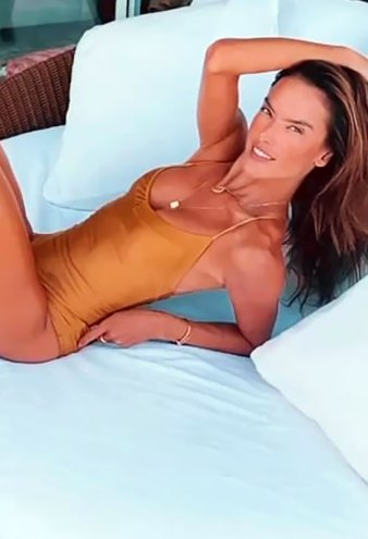 Alessandra Ambrosio's Legs Look Miles Long in a Sexy Nude One-Piece
